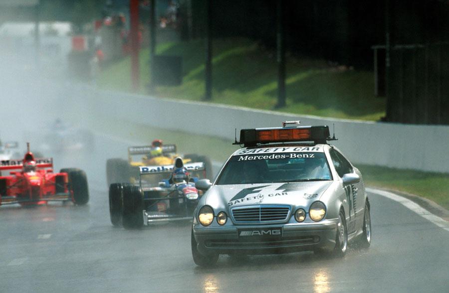 The race was started behind the safety car for the first time due to the rain