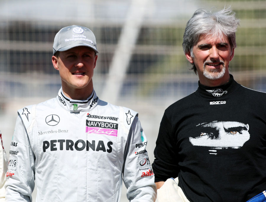 Michael Schumacher and Damon Hill ahead of the ex-world champions' track parade