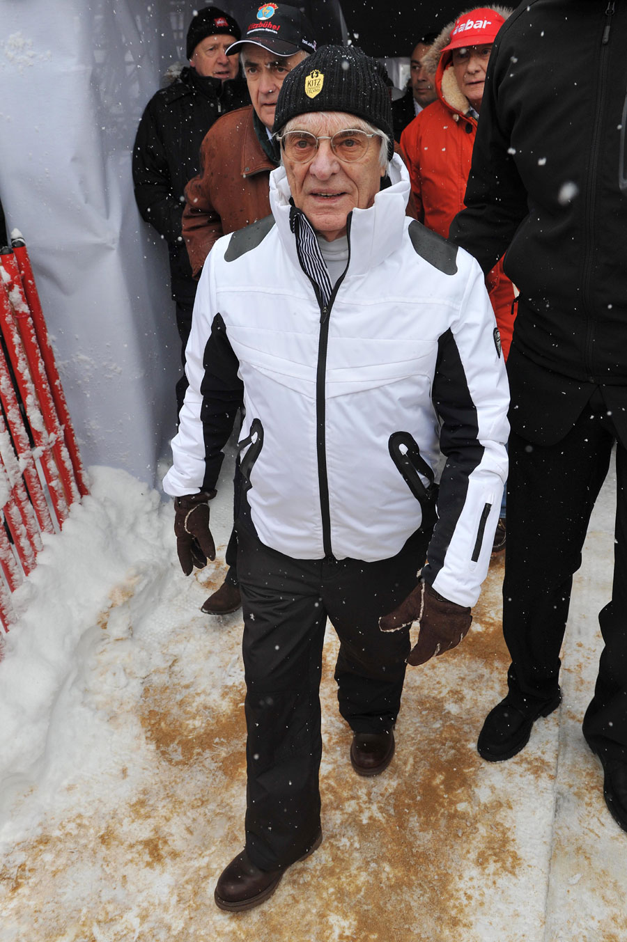 Formula One supremo Bernie Ecclestone attends the Men's Downhill World Cup race at the Streif race course Kitzbuehel, Austria
