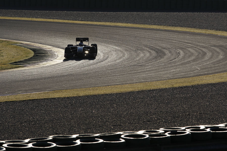 Kimi Raikkonen on track during a private test for Lotus