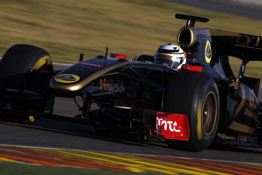 Kimi Raikkonen at speed in the Renault R30 during a private test for Lotus