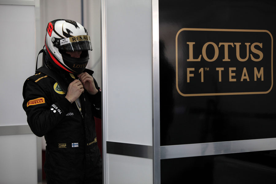 Kimi Raikkonen prepares for his private test with Lotus
