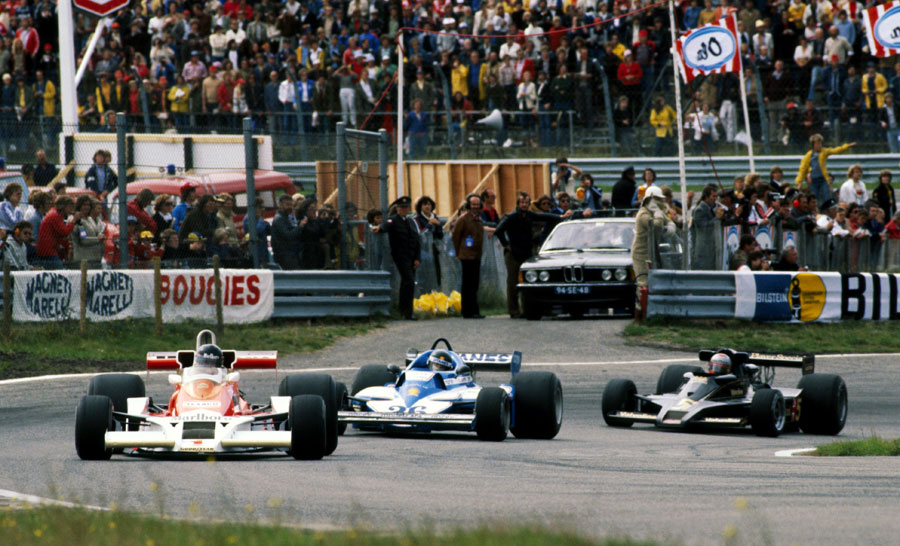 James Hunt leads Jacques Laffite and Mario Andretti early in the race