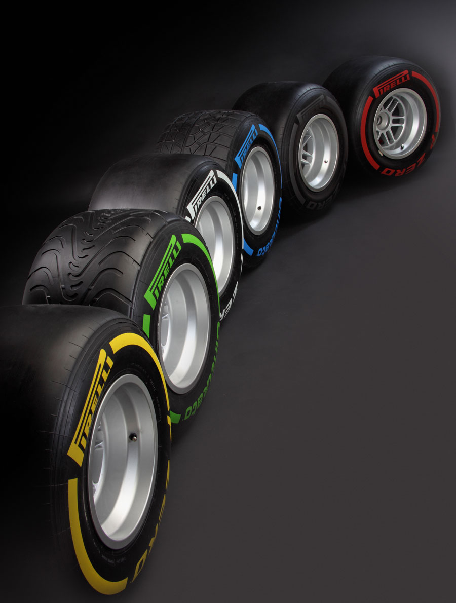 The 2012 Pirelli tyres lined up in the following order: soft, intermediate, medium, wet, hard and super soft