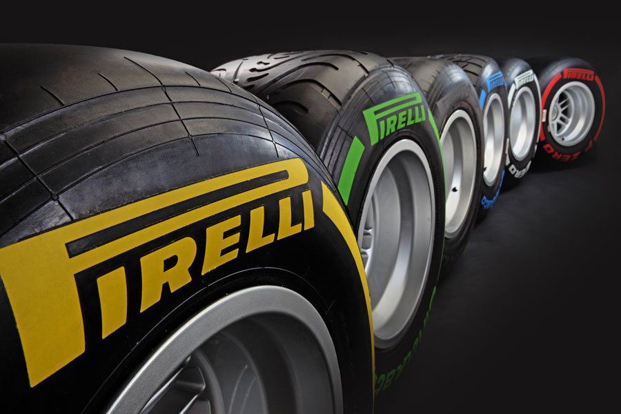 A close-up of Pirelli's new 2012 tyre range