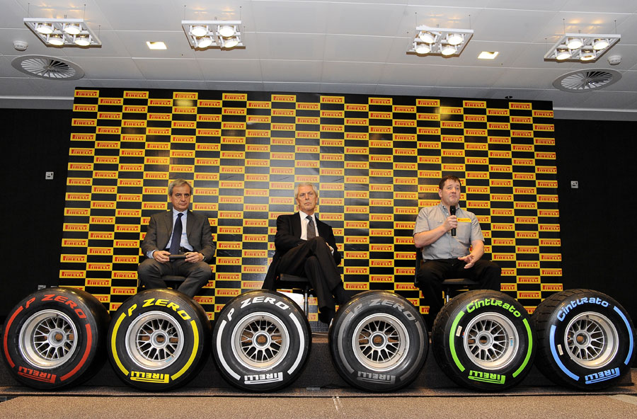 Maurizio Boyocchi, Marco Tronchetti Provera, Paul Hembery at the launch of Pirelli's 2012 tyre range