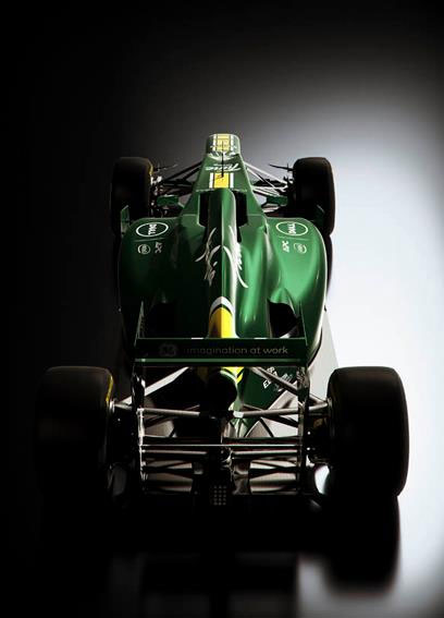 A rear view of the new Caterham CT01