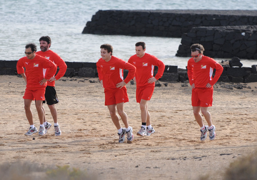 Fernando Alonso, Felipe Massa and Jules Bianchi take part in the Ferrari training camp