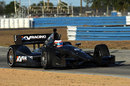 Rubens Barrichello on track in the KV Racing IndyCar during a private test