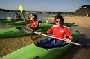 Fernando Alonso and Felipe Massa take part in a spot of kayaking at Ferrari's winter training camp