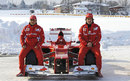 Fernando Alonso and Felipe Massa pose with the new F2012 in the snow