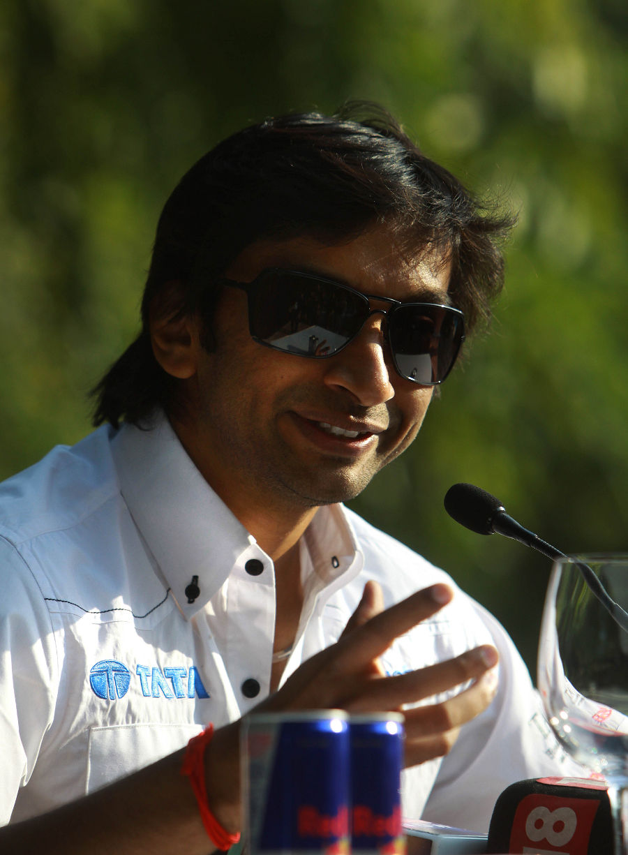 Narain Karthikeyan talks to the press after being confirmed as the second HRT driver for the 2012 season