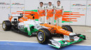 Paul di Resta, Nico Hulkenberg and Jules Bianchi pose with the new VJM05