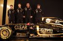 Jerome d'Ambrosio, Romain Grosjean, Eric Boullier and Kimi Raikkonen pose with the new Lotus E20