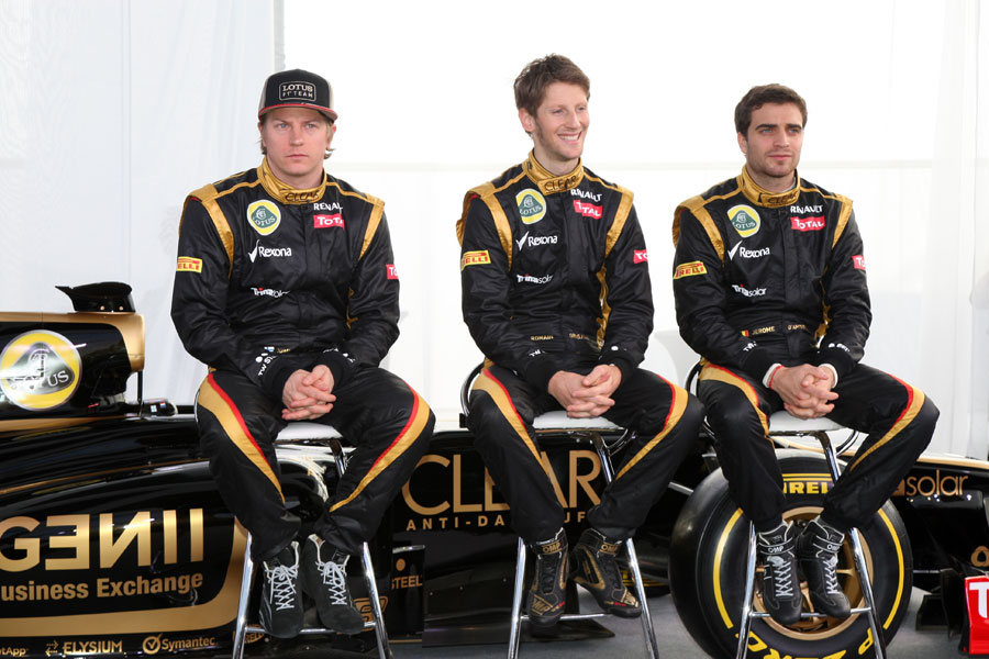 Only Romain Grosjean seems to be happy as Lotus presents its E20 to the media
