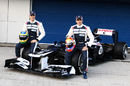 Bruno Senna and Pastor Maldonado pose with the new FW34