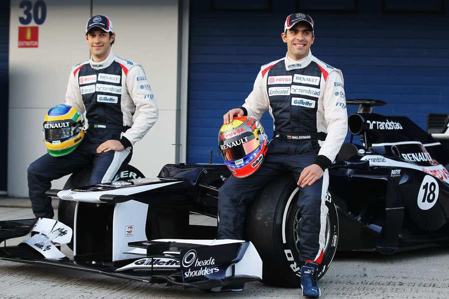 Bruno Senna and Pastor Maldonado pose with the new Williams FW34