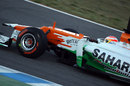 Paul di Resta completes an installation lap on wet tyres
