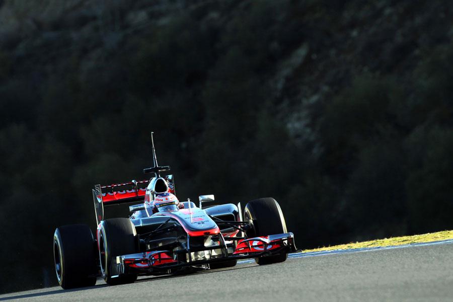 Jenson Button activates the DRS on the McLaren