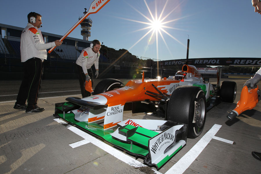 Jules Bianchi hits his marks on his first day in the Force India VJM05