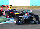 Michael Schumacher leads Mark Webber through the chicane