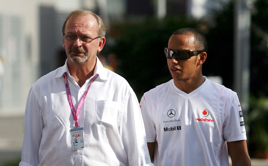 Anthony Coton with Lewis Hamilton in the Singapore paddock