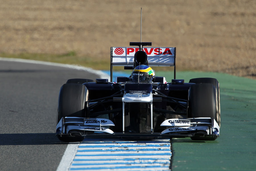 Bruno Senna pushes the Williams FW34 to the limits of the circuit