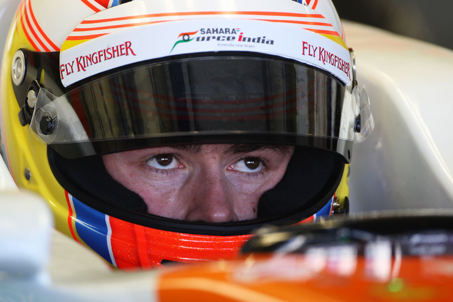 A focused Paul di Resta in the cockpit of the Force India VJM05