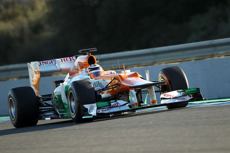 Nico Hulkenberg at speed in the Force India VJM05