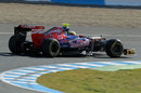 Jean-Eric Vergne on a soft tyre run in the Toro Rosso