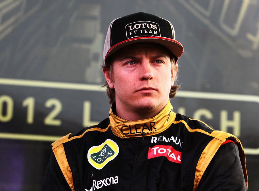 Kimi Raikkonen at the press launch of the Lotus E20