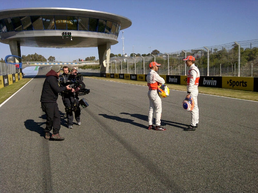 Lewis Hamilton and Jenson Button take part in some promotional filming at Jerez