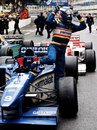 Olivier Panis celebrates victory on the streets of Monte Carlo