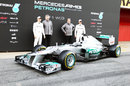 Nico Rosberg, Ross Brawn, Norbert Haug and Michael Schumacher pose with the new W03