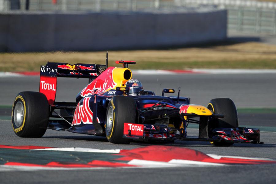 Sebastian Vettel clocks up some early laps on soft tyres