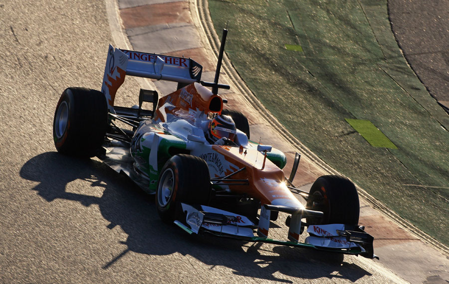 Nico Hulkenberg at the wheel of the VJM05 on an installation lap