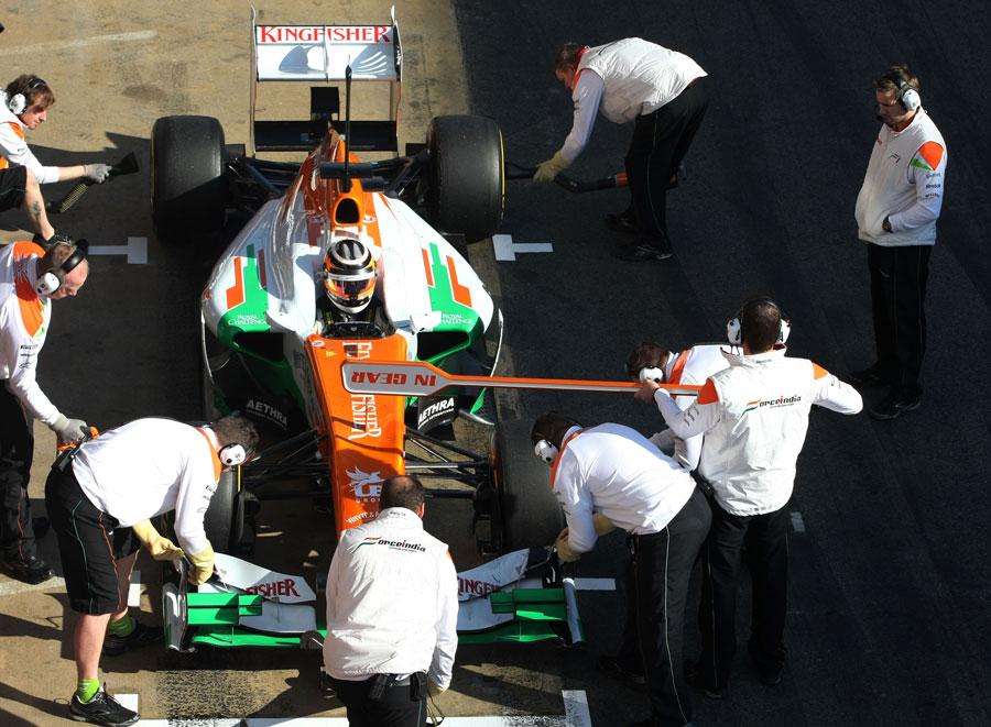 Nico Hulkenberg hits his marks in the pit lane