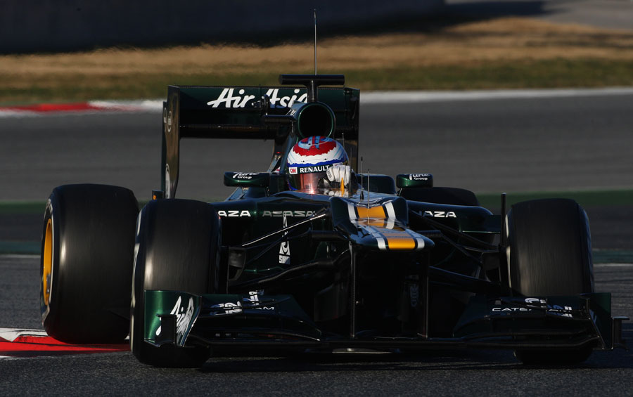 Vitaly Petrov takes to the track for Caterham for the first time