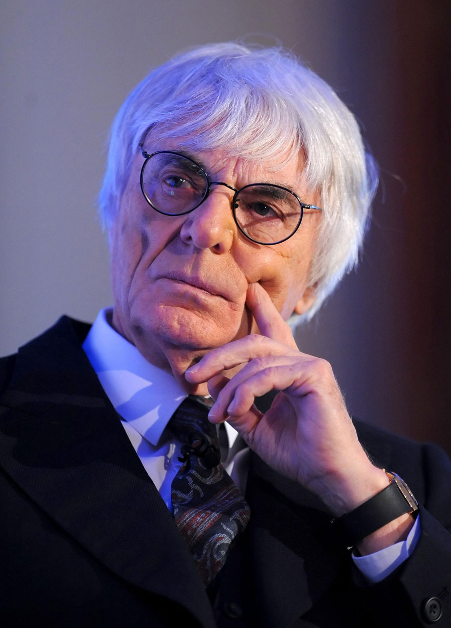 Bernie Ecclestone listens at the announcement of Tata Communications becoming Formula One's official connectivity provider