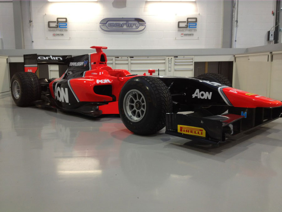 The new Marussia-liveried Carlin GP2 car