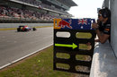 Mark Webber is instructed to come in at the end of the lap by his pit board