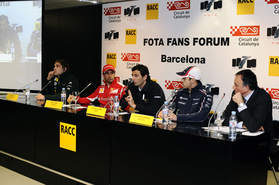 Vitaly Petrov, Marc Gene, Pedro de la Rosa and Pastor Maldonado face questions from the fans