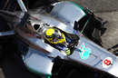 Nico Rosberg aims for his pit box