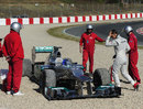 Michael Schumacher's Mercedes in the gravel after he made a mistake at turn five