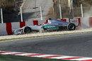 Michael Schumacher beaches his Mercedes in the gravel
