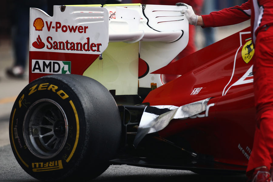 Ferrari covers up the exhaust exits on Felipe Massa's car