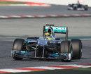 Nico Rosberg heads for the final corner