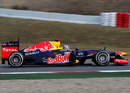 Sebastian Vettel on track in the Red Bull