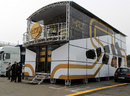 The HRT motorhome in the paddock