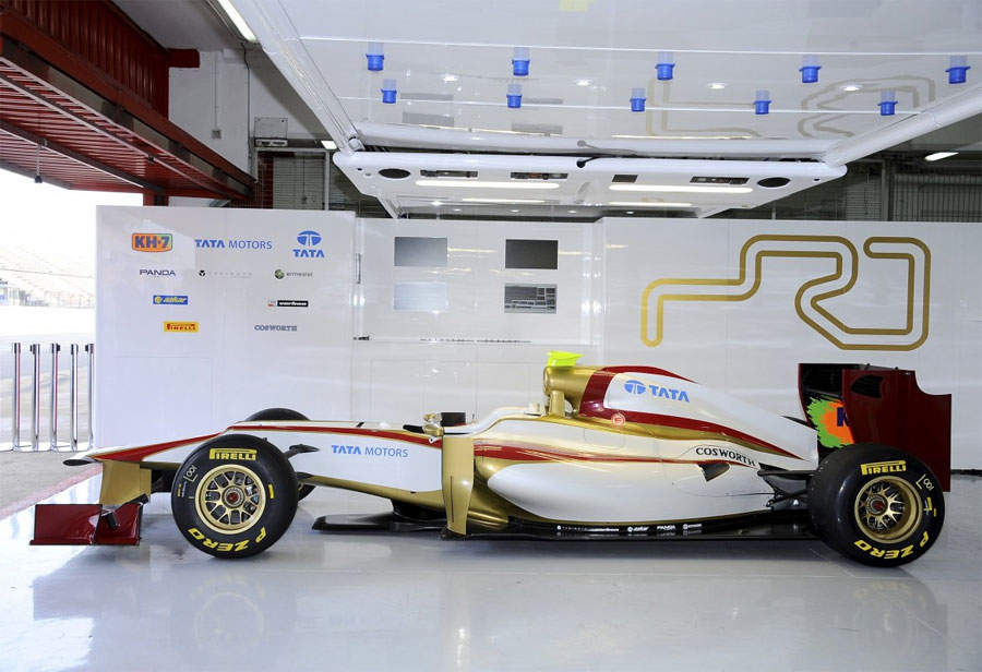 The new HRT F112 in the team's garage